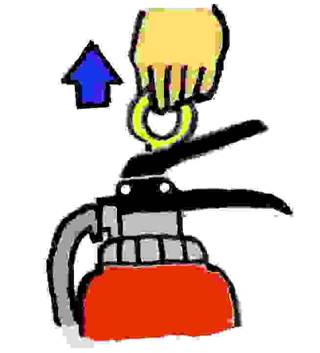 イラスト:消火器ピンをぬく
